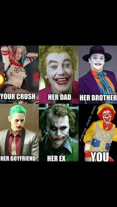 Joker and Harley Quinn. League Memes, Joker And Harley Quinn, Her Brother, Dads, Boyfriend, Fictional Characters, Parents, Fathers, Boyfriends