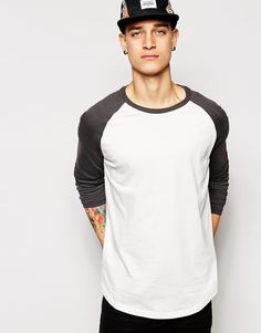 Shop ASOS Longline Skater Long Sleeve T-Shirt With Contrast Sleeves &  Curved Hem at ASOS.