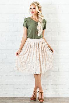 A Line Textured Skirt - MSS18260