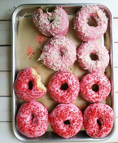 Pink & red doughnuts for Valentine's Day.