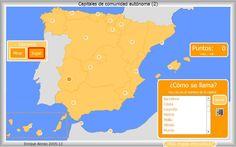 Mapa interactivo de España Capitales de Comunidad Autónoma. ¿Cómo se llama? - Mapas Interactivos