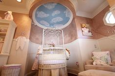 Epic nursery ceiling idea. Cloud painting on ceiling for nursery. This idea would be great combined with some birds/sunshine. Or it would be neat to make a jungle theme nursery and paint the rainforest canopy on the ceiling! http://freebabysamplesbymail.org/category/baby-crafts-baby-diy-projects/