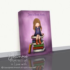 "Reading Books Picture Canvas Wrap Personalized Girls Room Artwork Book Nook Children's Illustration 8""x10"" / 11""x14"" / 16""x20"" Custom Hair and Skin Color. Featuring a beautiful highly detailed image of a girl sitting on a pile of books,this gallery wrap canvas print will be the highlight piece of any kids room or baby nursery to showcase it in! Breathtaking, unique and stylish eternally memorable gift to any kids room! Made with only the highest of quality materials this ready to hang…"