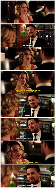 "#Arrow 5x22 ""Missing"" - ""That was Subtle. So Subtle. I guess since the dinner was a ruse, they think we deserve some alone time. Do we? Well, mean, I didn't know if it was a- We can take it one step at a time. I would like that very much. - #FelicitySmoak #OliverQueen"
