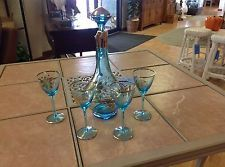 Mid Century Gold Painted Wine Decanter Set With 4 Matching Stems