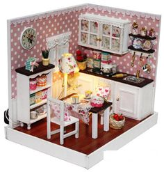 minnatures | ... corner of LED Light dollhouse room miniatures Angle's dream with cover