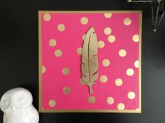 Your place to buy and sell all things handmade Canvas Wall Decor, Canvas Signs, Hot Pink Decor, Gold Accent Decor, Feather Signs, Gold Feathers, Gold Polka Dots, Paper Background, Dorm Decorations