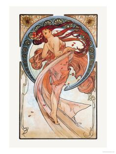 """""""Dance"""" 46 x 61 cm Premium Poster by Alphonse Mucha. $28.99 via Art.com—or maybe Michael's has it. I don't need a frame."""