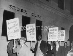 """October 23, 1951 The NAACP pickets the Stork Club in support of Josephine Baker, who had been refused admission to the club a week earlier. After a city-convened special committee calls Baker's charges unfounded, Thurgood Marshall will call the findings a """"complete and shameless whitewash of the long-established and well-known discriminatory policies of the Stork Club."""""""