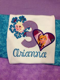 Personalized Girls Frozen Birthday, Frozen Shirt Embroidered, Appliqued, Monogrammed on Etsy, $24.00