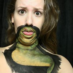 Day 24: Jabba the Hut!  BRB looking cute AF  Today's look was inspired by @laurajenkinson and her adorable mouth art!  90% of my time spent in this makeup was making faces like this one   @starwarsmovies @starwars #jabba #jabbathehutt #theforce #theforceawakens #lustredust #bodyart #illusion #artist #cosplay #cosplayer #Kryolan @kryolanofficial #mua #makeupartist #muotd #100daysofmakeup #100daysofmakeupchallenge #fanart #babe #yyc #calgary #yycmua #yycmakeupartist #dork