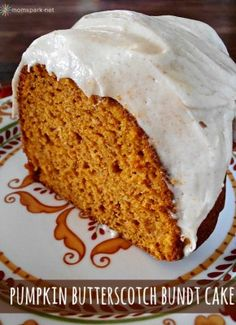 Pumpkin Butterscotch Bundt Cake with Brown Butter Cream Cheese Drizzle Yield: servings Prep Time: 15 minutes Cook Time: 55 minutes. Fall Desserts, Just Desserts, Delicious Desserts, Dessert Recipes, Yummy Food, Dessert Food, Yummy Yummy, Delish, Pumpkin Recipes