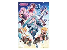 Vertical poster with vocaloid idols (Miku, Lin, Ren, Kaito, Meiko, Luka). High quality print on thick 170 grams paper and with dimensions of 61 x 91 cm.