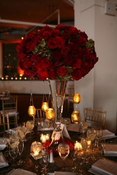 tall red rose centerpeices | tall red rose centerpiece | Wedding: Flowers, Table Settings, & Light ...