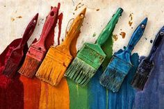 Love these brightly coloured paint brushes! The Paxton Centre is an arts and community space opposite Crystal Palace station. Cleaning Paint Brushes, Declutter Home, Rainbow Painting, Rainbow Art, Palette, Painting Workshop, World Of Color, Cool Paintings, Paint Cans