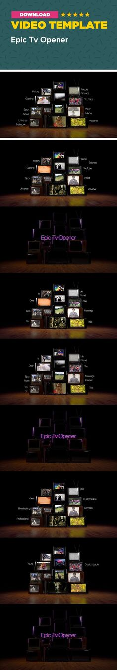 3d, broadcast, channel, cinematic, corporate, dark, film intro, grunge, multiple, news, retro, short, television, trailer, youtube Welcome my friend! Please watch in 1080p, don't miss any detail –  YouTube    Description Epic Tv Opener is a great template for those who are looking for a powerful, professional, breathtaking, short intro or outro for their company and channel. All multi-placeholders are easily customizable,  just drag and drop your files. You can create interesting looks…