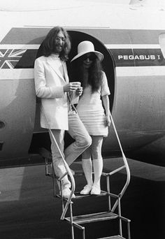 Yoko Ono: The multi-media artist married John Lennon in Gibraltar in 1969, clad in a very counter-culture ensemble: a textured mini-dress, kneesocks, and a white felt hat.