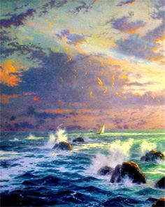 Thomas Kinkade Ocean Paintings | ... Light PANORAMIC 18x36 Artist Proof Thomas Kinkade Lighthouse Canvas