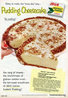"""Busy-Day"" Lemon Cheesecake (1959)-- I will be trying this with a box of sugar free vanilla or sugar free butterscotch"