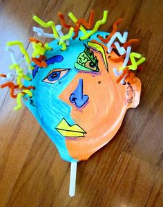 3/4 grade Picasso.  Must do!  Back to school night self-portraits but a twist from last year