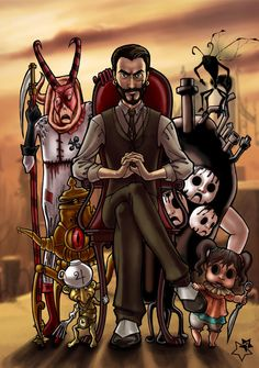 Mad Doctor with his monsters Background is the wonderfull art by [link] Alice: Madness Returns II Alice Madness Returns, Cheshire Cat Drawing, Dark Alice In Wonderland, Ghost Dog, Drawing Games, Were All Mad Here, Art Challenge, Yandere, Traditional Art