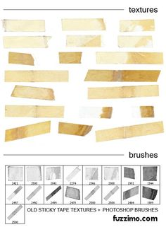 """""""Old Sticky Tape Textures Photoshop Brushes"""" More old tape brushes! My laptop will be full of old new things that don't actually exist. Graphic Design Tools, Web Design, Tool Design, Free Photoshop, Photoshop Brushes, Photoshop Tutorial, Sai Brushes, Formation Photoshop, Scotch Tape"""