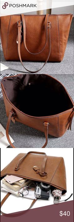 "🆕 Brown Shoulder Bag 👜 Great new leather shoulder bag.  Limited quantities!  Measures 16"" wide, 10"" tall, 4"" deep,  shoulder strap has 9"" drop.  Zipper closure, 1 interior zipper closure pocket.  Very versatile bag. Bags Shoulder Bags"