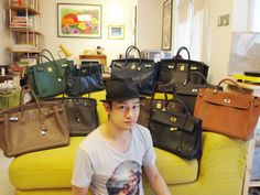 gary chung and his formidable hermes collection. makes me feel better about contemplating getting a second birkin. #collections #birkin #hermes
