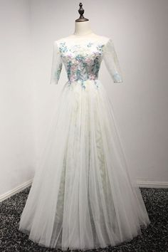 White tulle long lace prom dress with mid sleeves #prom #dress #promdress #promdresses #weddingdress