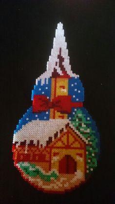 kerk sneeuw winter strijkkralen hama ses perler beads