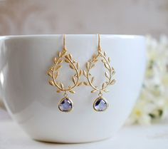 Purple Amethyst Teardrop Gold Laurel Wreath Earrings. by LeChaim, $25.00