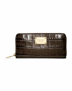 Jet Set Crocodile-Embossed Continental Wallet by MICHAEL Michael Kors at Neiman Marcus. $148.00 for momma