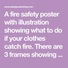 A fire safety poster with illustration showing what to do if your clothes catch fire. There are 3 frames showing the emergency steps to be taken, which are : 1. Stop where you are. 2. Drop to the ground. 3. Cover your face with hands and roll over and over until the fire is out