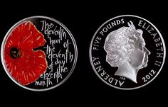 The Royal Mint has produced a commemorative coin for Remembrance Day, which features a colour-printed poppy.