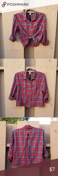620c1a7d6a Plaid cropped button down top Forever 21 red/grey/black plaid button down  shirt
