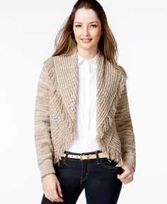 Style & Co. Open-Front Fringe-Trim Cardigan, Only at Macy's