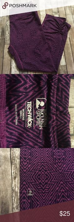 ✨SALE✨Eastern Mountain Sports Purple Crops Size Eastern mountain sports purple print crops. Techwick. In excellent condition. Gently worn. Like new. Size Small. See picture for measurements. 89% Polyester, 12 % spandex. ❗️Price FIRM❗️ No offers please. Eastern Mountain Sports Pants Leggings