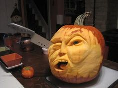Ouch! A super scary jack-o-lantern entry to our 2013 Pumpkin Carving Contest from Richard Y.of Pittsburgh, PA. | thisoldhouse.com