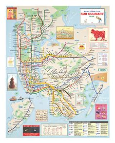 New York City Sub Culinary Map (from The New Yorker) by Rick Meyerowitz and Maira Kalman