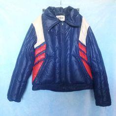 63ab2009bfe3 Vintage Ski Jacket Campus Rugged Country Down Feather Coat Blue White   Red Snow  Coat Unisex Adult Medium