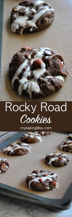 Rocky Road Cookies - Inspired by the ice cream shop, these thick, chocolatey, rocky road cookies are filled with marshmallow fluff, almonds, and chocolate chips. | mybakingbliss.com