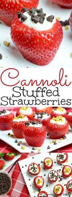 Easy & Healthy Cannoli Stuffed Strawberries recipe - a simple, low carb dessert with classic ricotta stuffing!  These berries are the perfect fruit treats for summer parties like 4th of July, Memorial Day or Labor Day- also Valentine's Day! Also gluten free and vegetarian. / Running in a Skirt