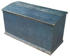 X84 19th century Blue painted Pennsylvania storage Bin, divided interior, nailed construction, with an applied base early