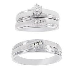 H Star Platina 4 Diamond 1/10ct Men's and Women's Engagement Trio Bridal Set (I-J, I2-I3) (Women's Size 9, Men's Size 9), White (satin)