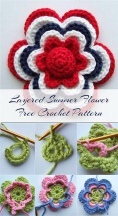 Layered Summer Flower Free Crochet Pattern