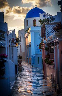 Rainy Day on Main Street ~ Santorini, Greece
