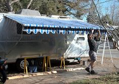 Tin Pickle Adventures: New Awning - sewing and metal repair. Good detail and pictures. Trailer Decor, Tin, Pickle, Adventure, Sewing, Outdoor Decor, Fabric, Airstream, Pictures