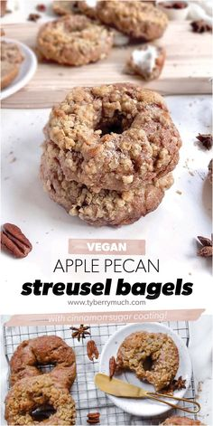 Anything apple + cinnamon = Fall. And these cinnamon sugar covered, vegan apple pecan streusel bagels are no exception. Smear your favorite vegan cream cheese on these homemade bagels to make an apple cinnamon delight, perfect for a crisp Saturday morning. This recipe will show you how to make the perfect vegan apple pecan bagels. These dairy-free bagels are tasty and easy to make! Cinnamon Sugar Apples, Apple Cinnamon, Cinnamon Bread, Plant Based Breakfast, Fall Breakfast, Fall Recipes, Beef Recipes, Delicious Vegan Recipes, Tasty