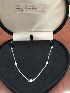 PLATINUM & SS CLASSIC 7 STATION LCS DIAMOND TENNIS NECKLACE 18 INCH FREE…