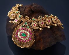 traditional temple jewellery necklace , temple jewellery necklace , ruby and emerald